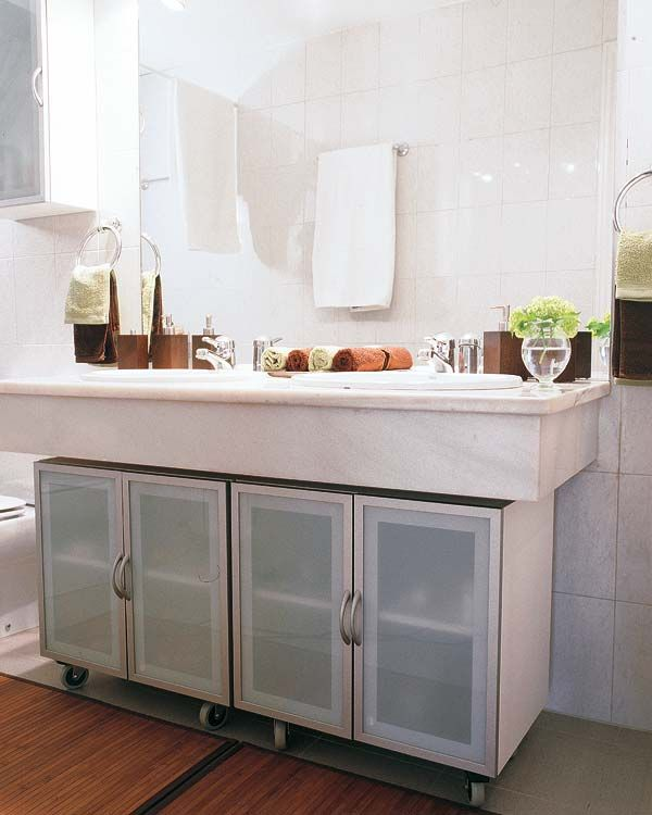 82 best pedestal sink storage solutions images on - Bathroom vanity under sink organizer ...
