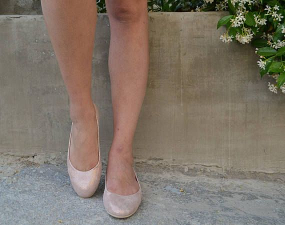 Rose Gold Suede Leather Ballet Flats ballerina's Summer