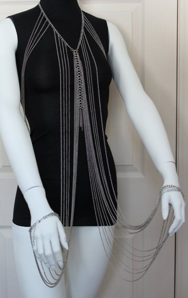 Body Chain Draping Chains Silver Multilayer Armor by crystalelements1 on Etsy https://www.etsy.com/listing/228803726/body-chain-draping-chains-silver