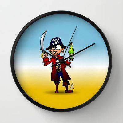 Pirate Wall Clock by Cardvibes - $30.00 #Cardvibes #Tekenaartje #Society6