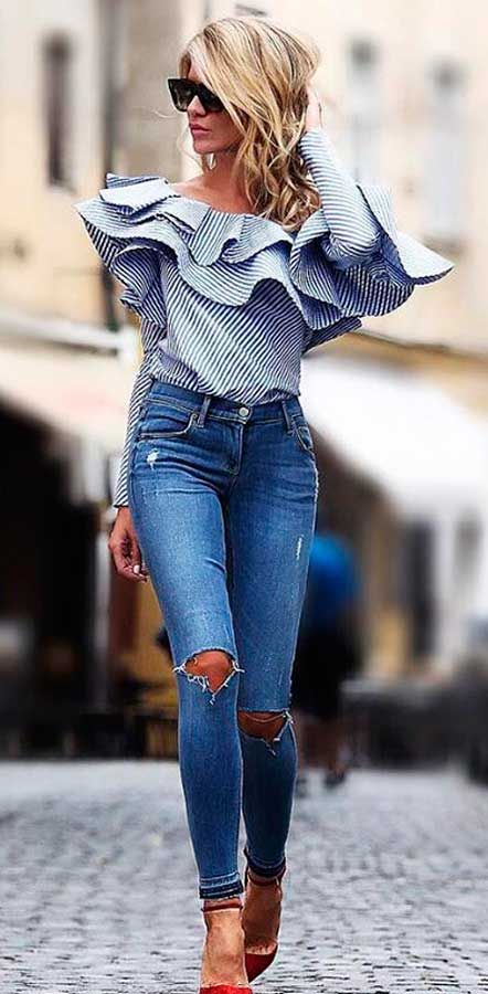 #striped #ruffle shirt jeans street style #outfit