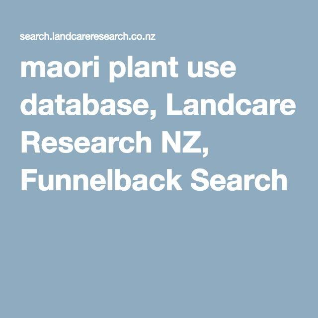 Maori plant use database