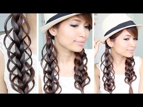 Feather Loop Braid Hairstyle for Medium Long Hair Tutorial - YouTube