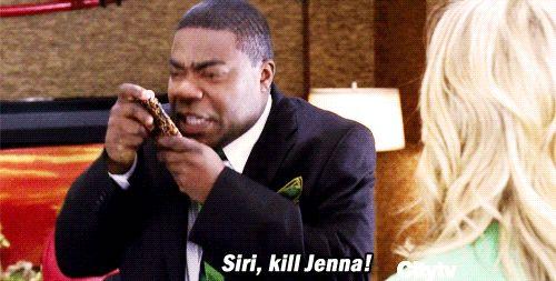 Tracy Jordan (Tracy Morgan) yells at Siri on his iPhone to 'kill Jenna' during an episode of NBC's 30 Rock.