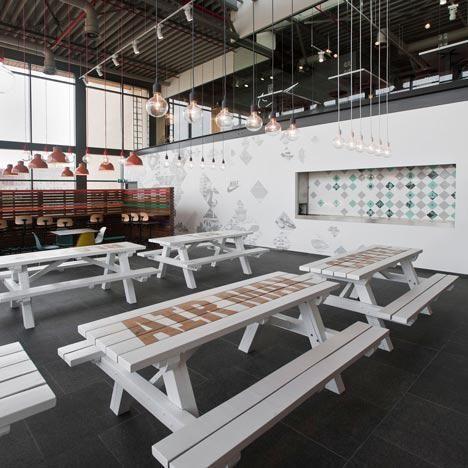 DIY: stenciled picnic tables