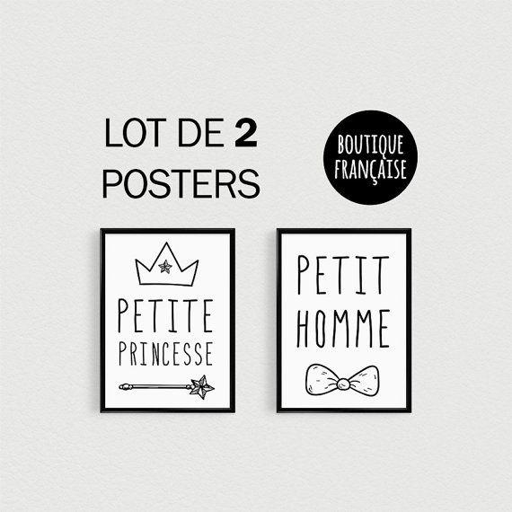 PROMOTION !!! Lot de 2 POSTERS citations mignonnes Petite princesse et Petit homme  Cadeau idéal pour deux enfants, un garçon et une fille, à disposer dans leur chambre dans un joli cadre ou sur la porte de leur chambre :)  ---- FORMAT ---- A4 : 21x30cm Imprimé sur du papier épais brillant de qualité (180g), avec une imprimante professionnelle.  ---- LIVRAISON ---- Les posters sont emballés soigneusement à plat dans une grande enveloppe cartonnée empêchant le poster de s'abîmer. Expédiés…