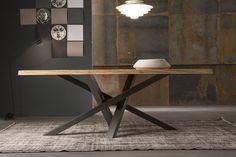 Rechteckiger Esstisch aus Edelstahl und Holz SHANGAI | Tisch aus Edelstahl und…