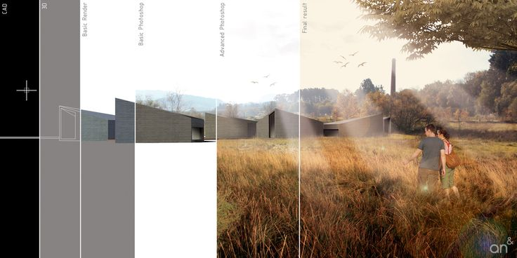 Great image revealing different stages of architectural image creation.