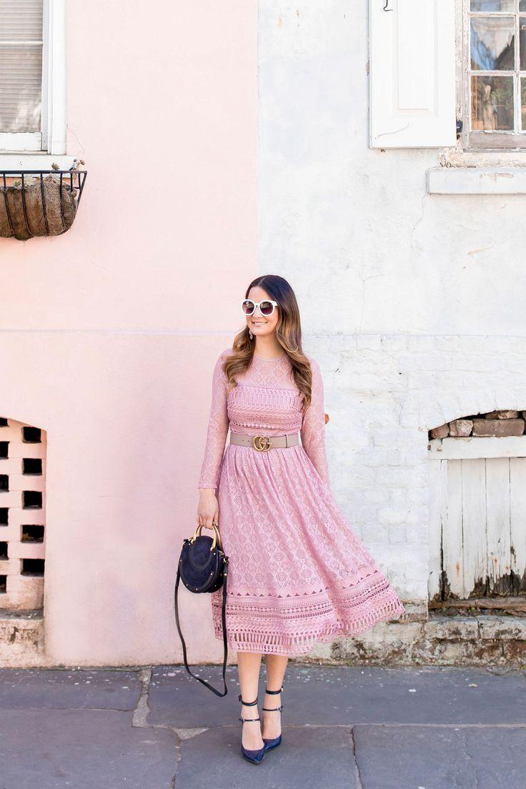 Blush Lace Long Sleeve Midi Dress