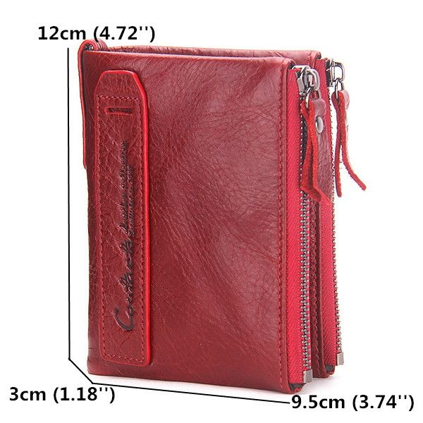 6a4c9a81aa7a0f Hot-sale Women Genuine Leather Cowhide Zip Wallet Vintage Bifold with  Double Zipper Pockets - NewChic Mobile