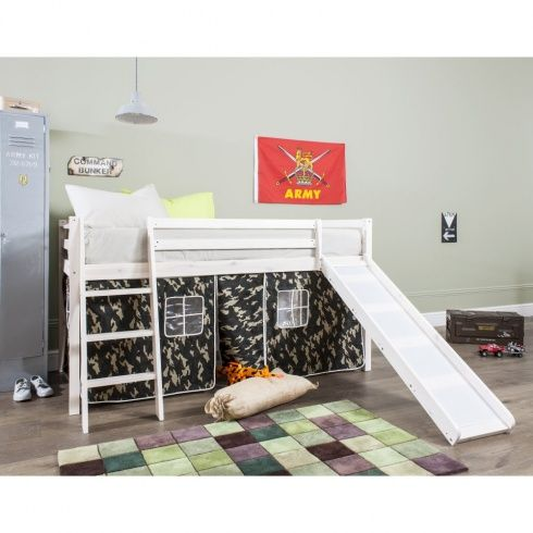 Army Cabin Bed with Slide and Tent in Camouflage Design - Designed to encourage children's imaginative play, let your little ones prepare for combat in this solid pine mid sleeper with its camo print den. Includes a fun slide. Make bedtime more exciting with this perfect addition to your army recruit's room and save space too! #kids #home #bedroom