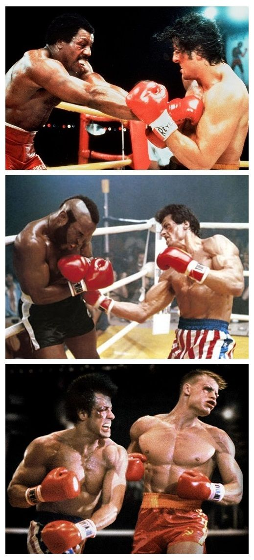Rocky v's Apollo Creed, Clubber Lang and Ivan Drago.