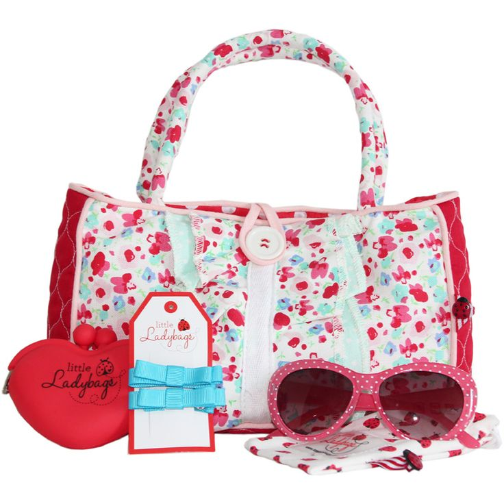 We know it is not just all about 'the bag' but also the fun stuff to fill it with.    Pack includes everything a little lady needs to be a real princess:    • Little Lady Zarah Handbag  • Dotti Lady Shades in a ladybug protective canvas bag  • Little Heart Purse - Red  • Little Bow Hair Clips - Aqua