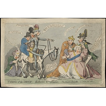 """""""Taming of the Shrew"""", a Gillray cartoon from 1791; the """"shrew"""" being Catherine the Great of Russia."""