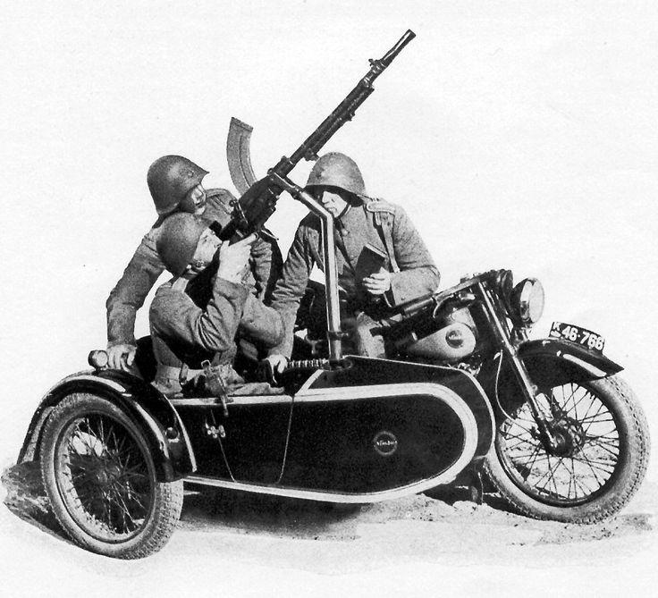Military Nimbus motorcycle plus Madsen machine gun,  1938.