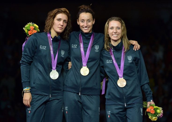 Da sinistra, Arianna Errigo (argento); Elisa Di Francisca (oro) e Valentina Vezzali (bronzo)