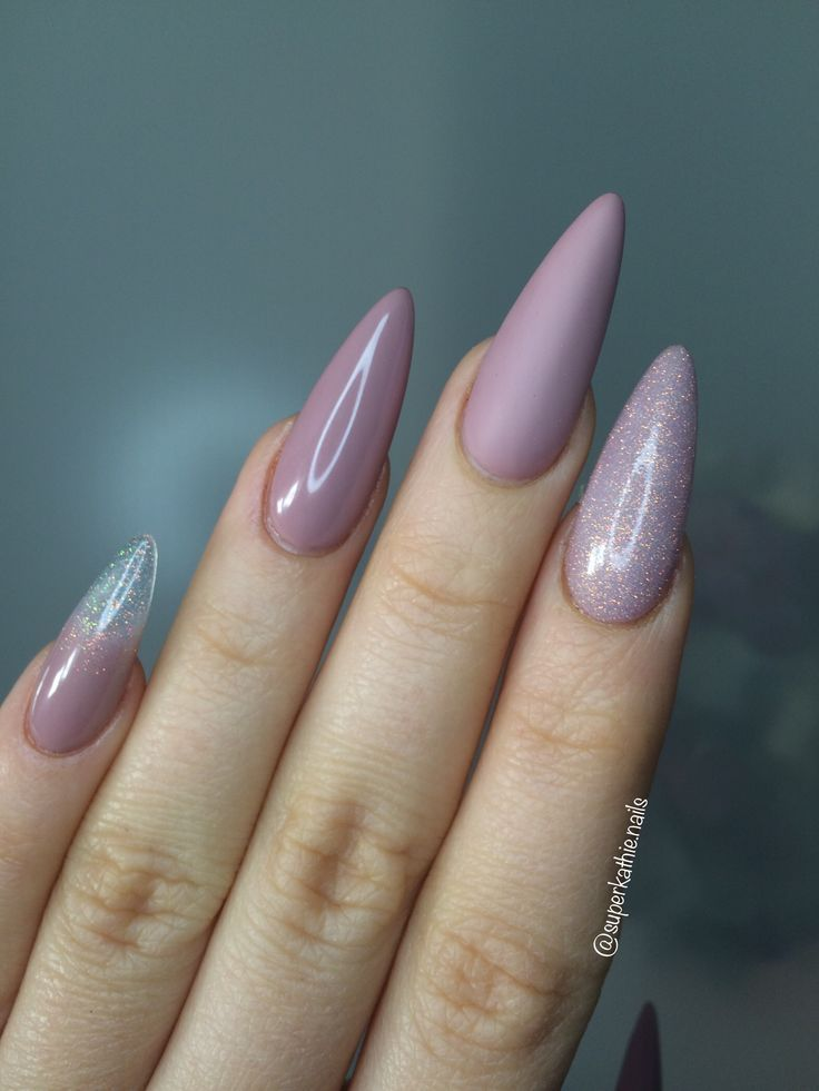Nude nails Long nails almond nails | Different Nail Shapes ...