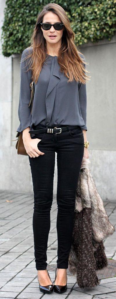 Latest fashion trends: Women's fashion   Ruffling grey blouse, skinnies, heels and fur coat