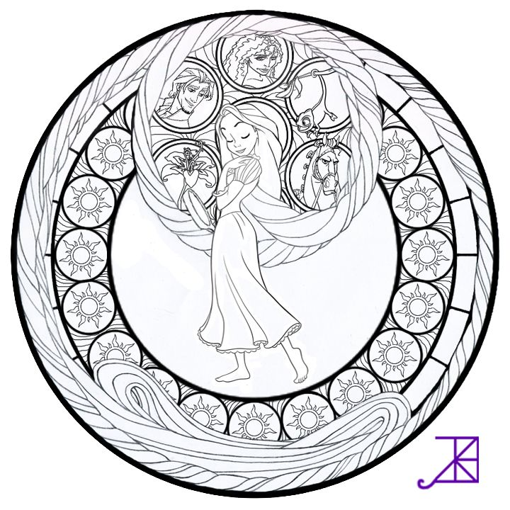 Disney Tangled Rapunzel Stained Glass line Art By Akili Amethyst