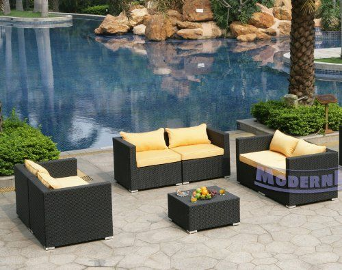 Modern Furniture All-Weather Collection: Set of 3 Yellow Loveseats and 1 Coffee Table by ModernLineFurniture. $2899.95. Outdoor furniture features: Resin wicker material and frame w/ rust-proof coated aluminum. Covers are conveniently removable and machine washable. Set includes 6 modular components (6 Corners - creates 3 loveseats), Pillows, and 1 Coffee Table. Ships within 4-5 days.. In stock in NJ warehouse.. Dimensions: See photo above for the proper measurements