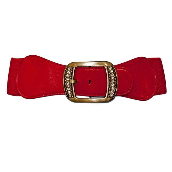 Plus Size Rhinestone Studded Burnished Buckle Elastic Belt Red ($15) ❤ liked on Polyvore