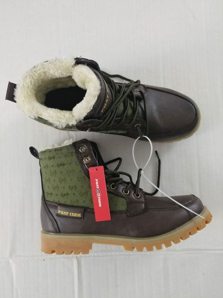 Phat Farm Men's Brown & Olive Fur Lined Lace Up Boots Size 9.5 #PhatFarm #Casual