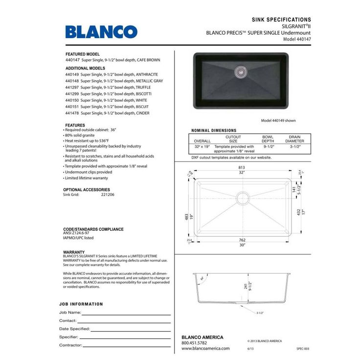 Blanco 440148 Precis Metallic Gray Undermount Single Bowl Kitchen Sinks |  EFaucets.com