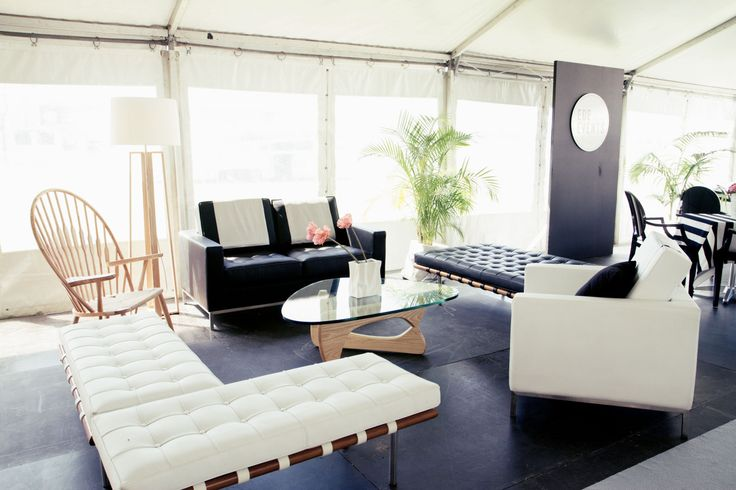 Marquee styled with Peacock arm chair, white Knoll arm chair, black Knoll lounge and Barcelona benches. http://www.edeevents.com.au/peacock-arm-chair-in-ash