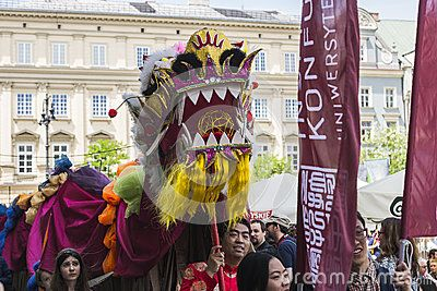 Parade of dragons in Krakow, Poland. On May 31, was held an annual parade of dragons and a contest for the most beautiful Dragon in disguise.  https://www.facebook.com/dragonsparade