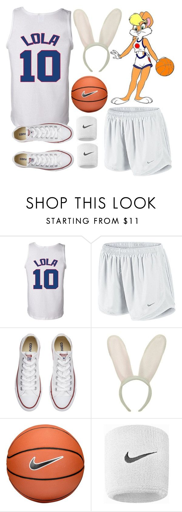"""Lola Bunny Halloween Costume"" by kirrky ❤ liked on Polyvore featuring NIKE, Converse, Halloween, lolabunny and spacejam"