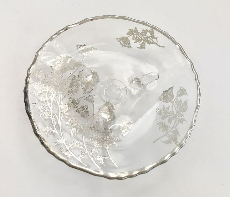 """Silver City Glass 7 1/2"""" Glass Flanders Poppy Silver Overlay Three Footed Bowl"""