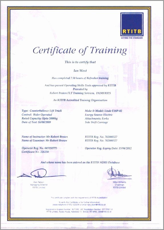 Forklift Certificate Template Free Luxury 30 Forklift Operator Certificate Template Certificate Templates Card Template Templates