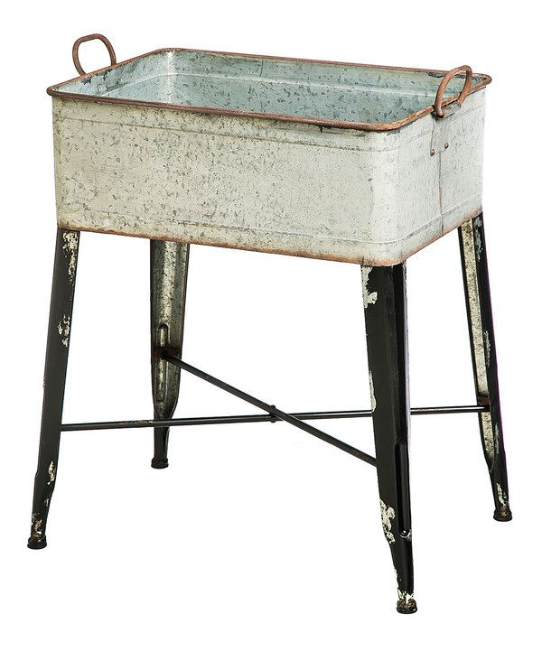 Look at this vintage metal wash tub sink planter table on for Tin tub planters