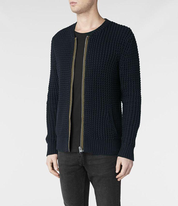 Mens Rok Knitted Bomber Jacket (Ink) | ALLSAINTS.com