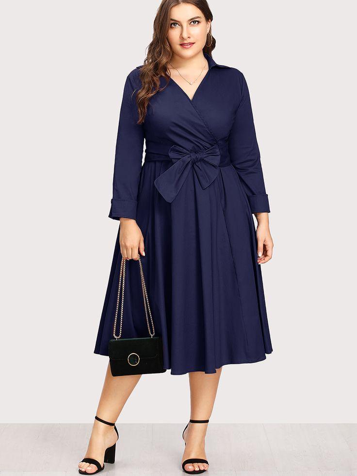 Shop Surplice Neckline Self Tie Circle Dress online. SheIn offers Surplice Neckline Self Tie Circle Dress & more to fit your fashionable needs.
