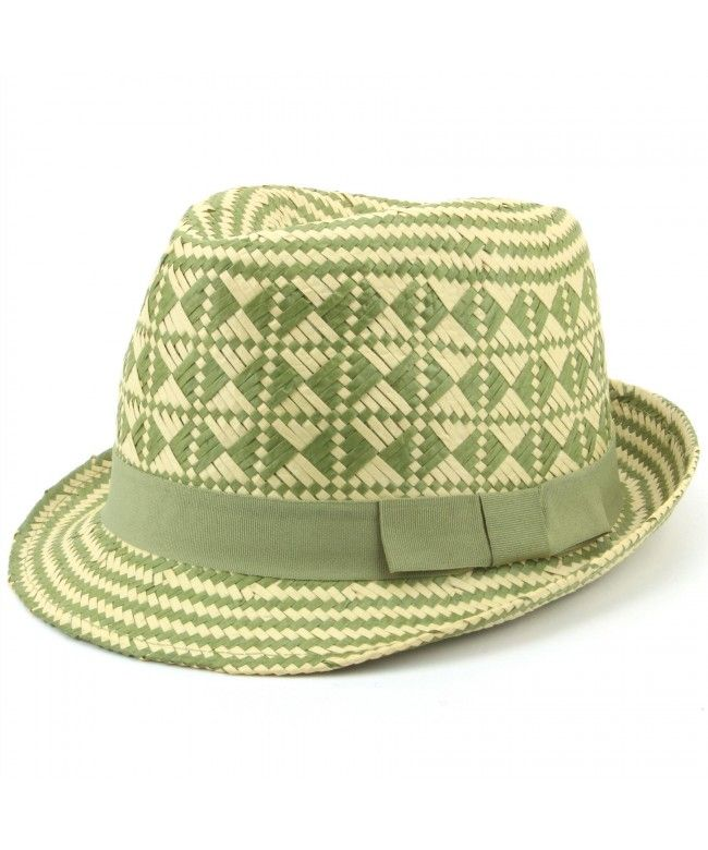 Hawkins Check straw paper trilby hat with grosgrain band - Green
