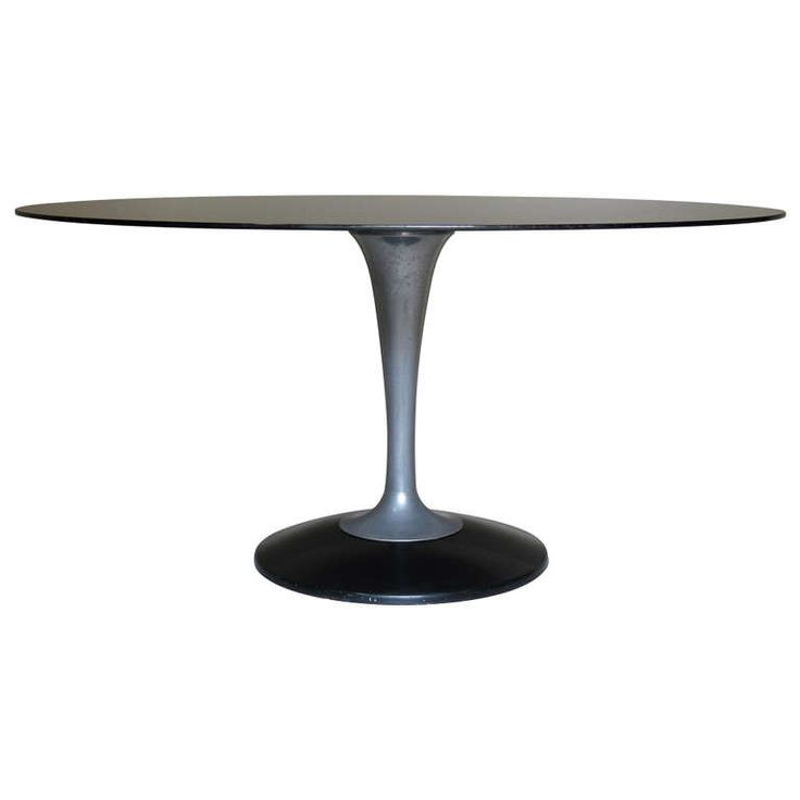 Chrome And Glass Oval Dining Table, France 1950 1960