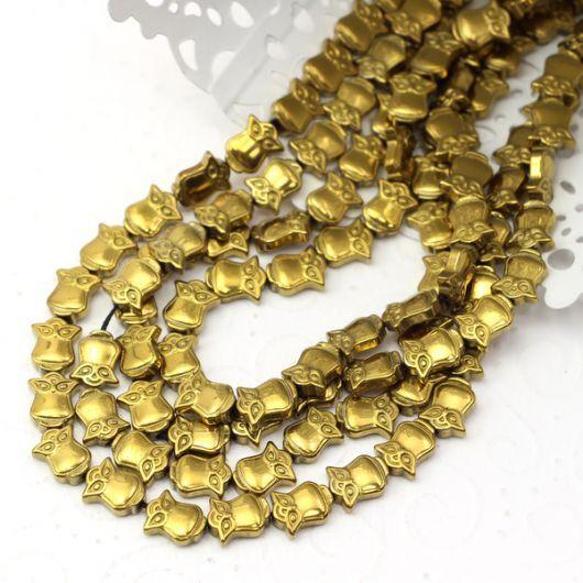 Hematyt złoty sówka  10mm