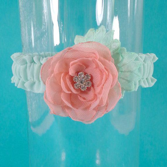 Wedding Garter mint coral Wedding Garter A121  by HARTfeltart
