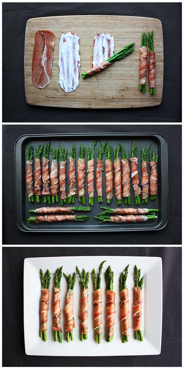 "Prosciutto Wrapped Asparagus.  Asparagus, Cream cheese, & Prosciutto. Blanch asparagus in boiling water to bring out its color. Cut off dry ends of each spear, then boil for 1-2 minutes. Transfer asparagus into bowl of cold water to ""shock"" them  so that they cool & stop cooking.  Spread slices of prosciutto with a little cream cheese. Then, wrap up 3-4 asparagus spears in prosciutto, with ends exposed. Arrange on lightly greased pan. Bake at 350 for 10 minutes or until asparagus is tender."