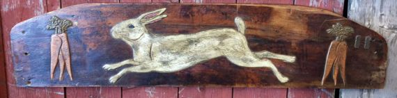 White Bunny with two Carrot Bunches on lovely primitive Arched