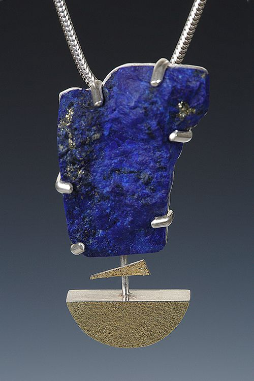 Lona Northener Jewelry:  Pendant of Natural Lapis, Sterling and 18K Bimetal.