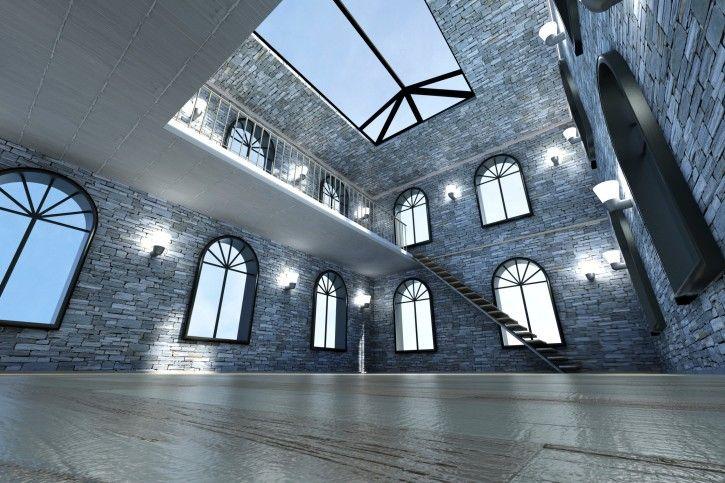 Großes Wohnzimmer mit Kathedrale Decke