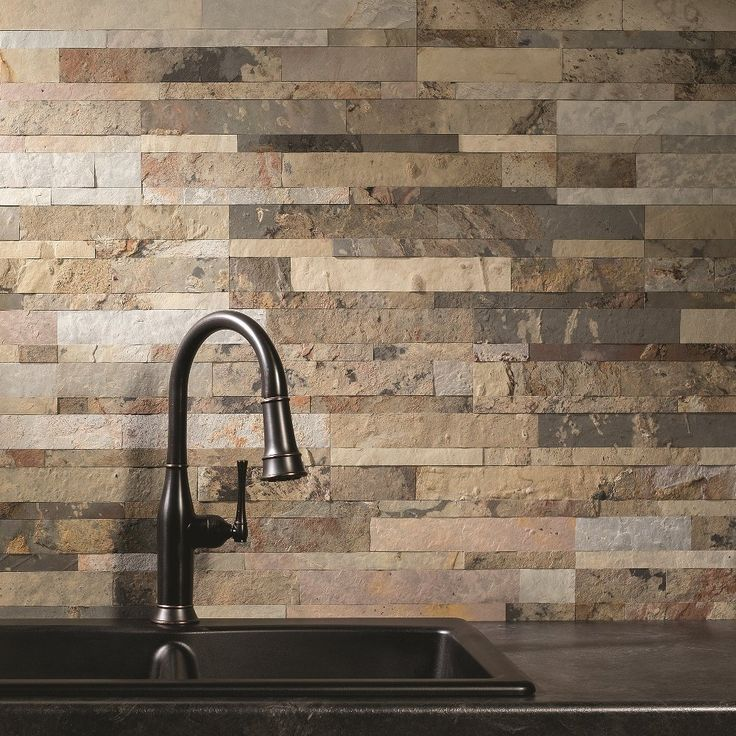Peel And Stick Backsplash Tiles: Aspect 6in X 24in Medley Slate Peel And Stick Stone