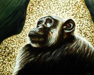 "Saatchi Art Artist Dan Civa; Painting, ""Chimpanzee portrait (chimp 3)"" #art"