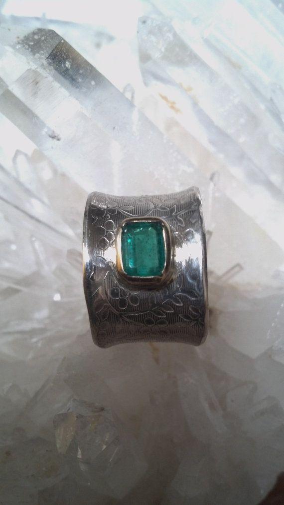 14K oro esmeralda colombiana y plata 925