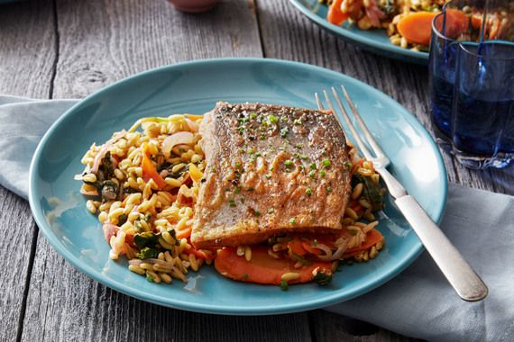 Paprika & Fennel-Spiced Salmon with Spinach, Carrots & Khorasan Wheat. Visit https://www.blueapron.com/ to receive the ingredients.