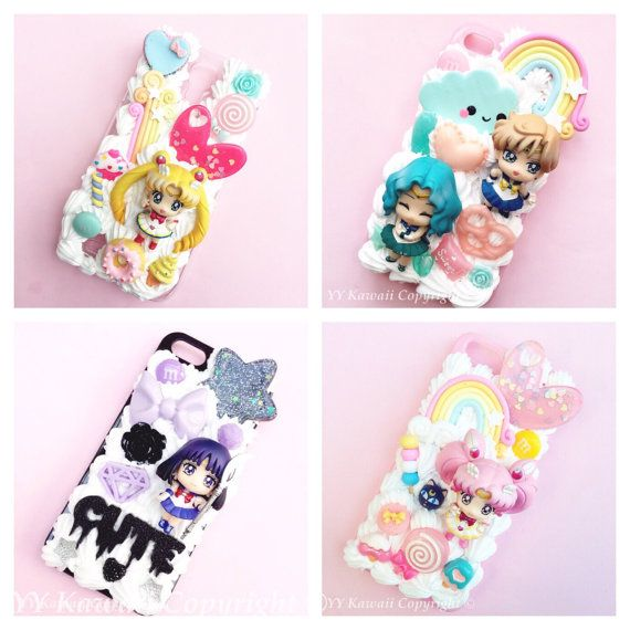 Custom Sailor Moon Chibi Moon Kawaii Decoden Phone Case for Iphone 4/4s, 5/5s/5c, Samsung Galaxy S2, S3, S4 or Ipod Touch, HTC One X