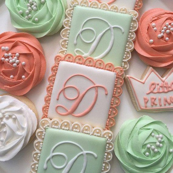 Monogram Cookies by LittlePrinceCookies on Etsy