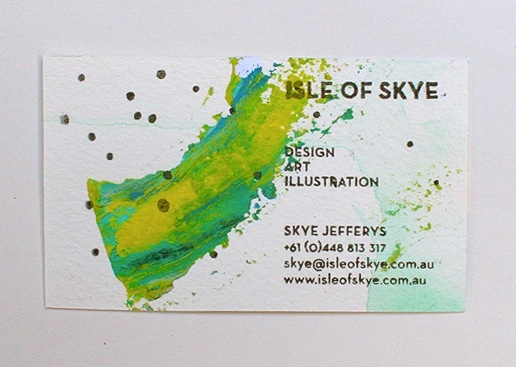 Hand stamped and painted buisness card - isle of skye